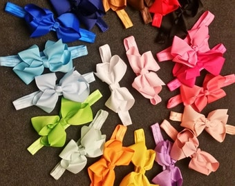 Set of 20 Boutique Bow Headbands, Infant Bow Headbands, 4 Inch Bow Headbands, Newborn Bow Starter Set, Baby Big Bow Headbands, Baby Bows