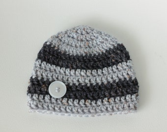 Crochet hat, striped hat, button hat, baby girl hat, baby boy hat, crochet beanie. MADE TO ORDER