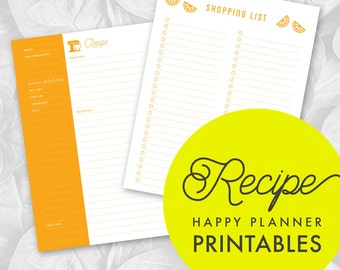 Printable Regular Happy Planner Recipe Inserts with Shopping List, Notes, Kitchen Measurement Pages / DIY
