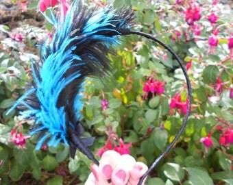 Turquoise and Black Feather Headband - Hard Headband- Flapper Headband - Feather Headband - Adult Headband - Black Headband - Girl Headband