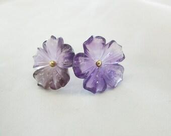 Amethyst flower earrings