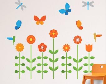 Flowers Wall Decal, Flowers Decal, Flowers Wall Sticker, Flower Garden Nursery, Butterflies Wall Decal, Floral Wall Decal, Nursery Decal