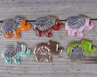 Elephant magnets, ceramic refrigerator magnets, Gold elephant, Turquoise elephant, ceramic elephant magnet, cute fridge magnet