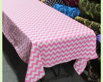 Chevron Cotton Rectangle Tablecloth 58 X 108 inches Pink / Gray