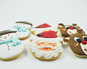 Santa Claus, Frosty the snowman and Rudolph the red nosed reindeer Christmas cookies - gift saint nick - holiday sugar cookies for Santa