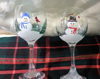 Snowmen with trees hand painted wine glasses-2, Painted Snowmen, Christmas Trees, Holiday Glasses