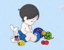 Precious Moments Baby Boy with Toys