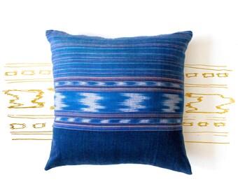 Ikat Pillow Cover - Ikat Cushion - Decorative Pillow - Blue Ikat Pillow - Hand Woven - 16 x 16 - Boho Pillow