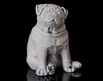 Marble Pug Dog Figurine Animal Russian Art Handmade Statuette For Home Decor