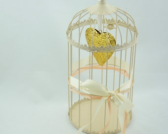 Vintage bird cage, decorated, golden heart, creme and apricot borders, wedding card box, wedding decoration