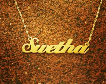 Gold Name Necklace / Personalized Name Chain / Solid 14k Gold Nameplate and chain / Necklace / Black Friday and cyber Monday Sale!!!