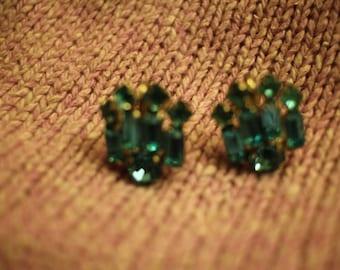 Turquoise Blue Rhinestone Earrings