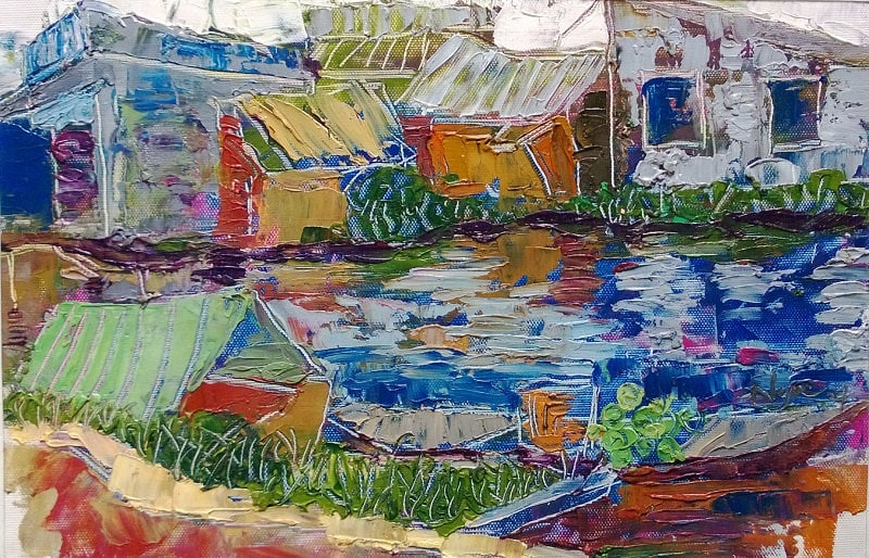 """RIVER COLORS 16x10"""" textured oil on canvas, live painting, Mekong Delta (Cần Thơ Province), original by Nguyen Ly Phuong Ngoc"""