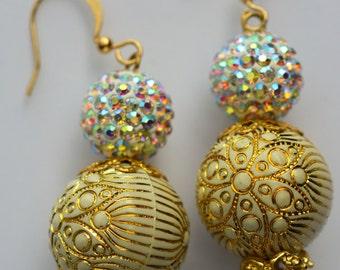 Handmade earrings, , Crystal Pave  Earrings, Dangle Earrings, gold earrings