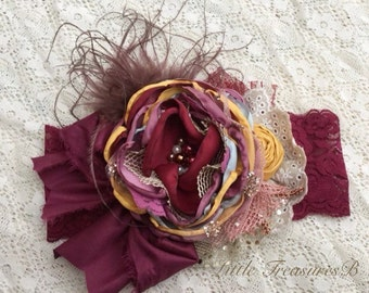 Burgundy flower headband, lace flower headband with feathers, fall colors headband, autumn flower headband, burgundy and yellow headband.