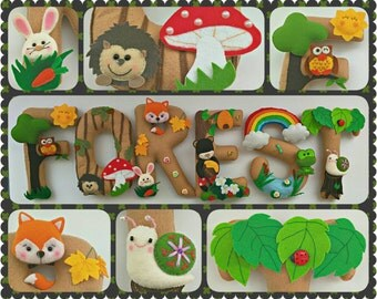 Forest Theme Name Birthday Banner, Boy or Girl, Personalized Felt Name Garland/Bunting, Birthday Party Room Wall Decoration
