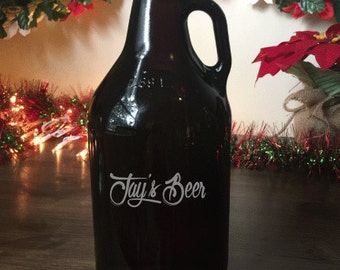Amber Growler, Christmas Present, Personalized Growler, Custom Growler, Engraved Growler, Groomsmen Gift, Men's Christmas Gift,Home SALE