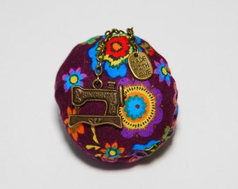 Pincushion purple brooch, sewing accessory, sewing tool, holding pins, pincushions