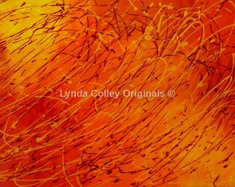"""An orange and yellow original abstract acrylic painting """"Sunspot"""" on deep edge canvas by #lyndacolleyoriginals"""