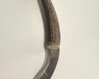 "Knife with deer antler handle afalcatado - ""Afalcatado"" knife horn handle"
