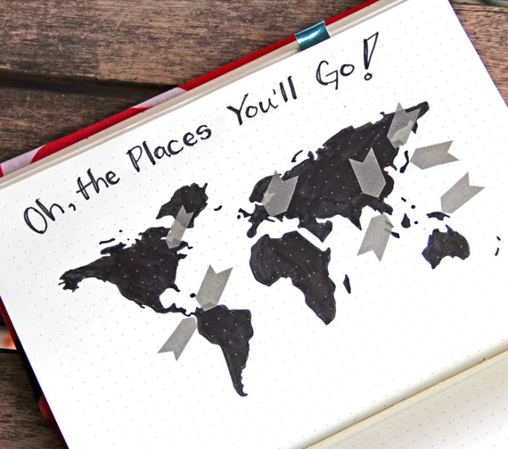 World map stencil bullet point journal travel stencil fits world map stencil bullet point journal travel stencil fits travelers notebook leuchtturm and moleskine 5 by 7 sciox Images