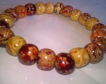 Wood beads elastic bracelet