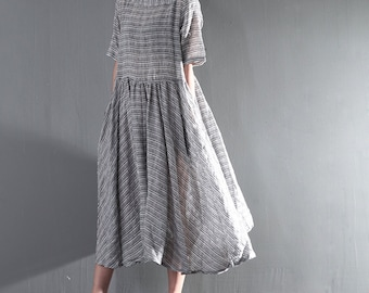 Irregular Hem With Striped Shirt Dress High Waist Linen Dress Women