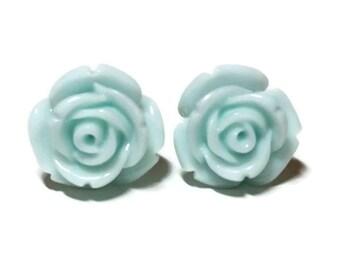 Light Blue Rose Earrings, Light Blue Rose Studs, Blue Earrings, Rose Earrings, Post Earrings, Resin Flowers