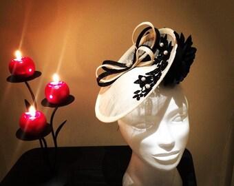Cream and Black Saucer Hat