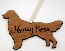 Personalized Dog Ornament - Golden Retriever Wooden Magnet - Custom Dog Name - Great Gift for Pet Lover - Different Dog Breeds Available