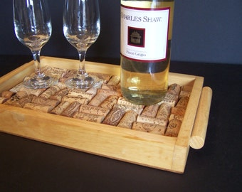 Wine Cork Serving Tray, Display, Home Decor, Recycled, Handmade, Refurbished, Ecofriendly, deocrative & functional, Home, Office, Gift