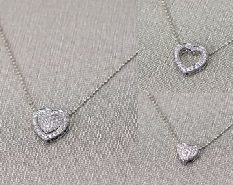 Heart Diamond Pendant in 18K White Gold, removable pendant