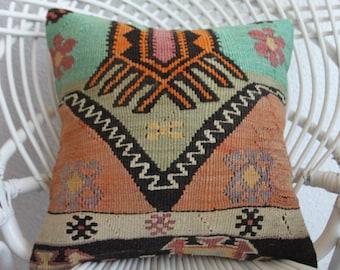 outdoor chair cushion 16x16 victorian kilim cover 16x16 inches handwoven cushion decorative pillow kilim rug pouf pillow floor cushion 353