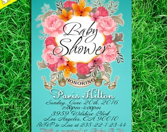 Baby Shower Invitation, Tiffany Baby Shower Invitation, Vintage Baby Shower Invitation, turquis Baby Shower Invitation
