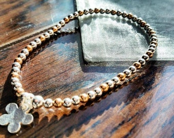 Sterling Silver and Rose Gold Beaded Bracelet