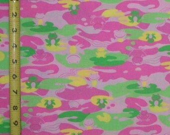 Cameo Frog in Pink & Green Fabric, Quilt or Craft Cotton Fabric