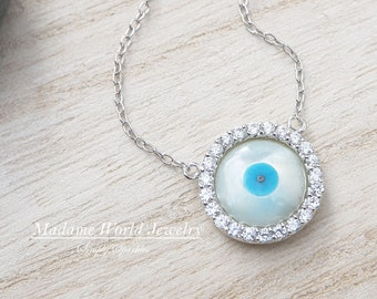 Two Sided Evil Eye Necklace (CZ and plain)