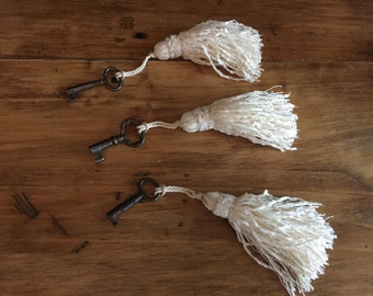 Antique Skeleton Key with New Cream Colored Tassel - Three Keys to Choose From