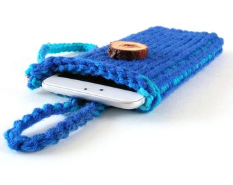 iPhone 6 Sleeve Blue,  Cell Phone Wristlet, Cell Phone Case, Thick Cell Phone Cover, iPhone 6S Plus Case
