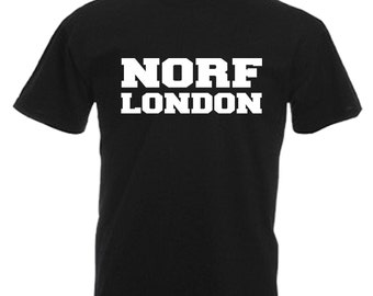 Norf London Adults Black T Shirt Sizes From Small - 3XL