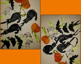 Handmade and hand painted (front and back) Halloween Ornaments