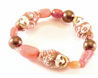 Russian Stacking Dolls Bead Orange Brown Red Bracelet One size fits most