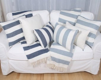 Cushion Candy Stripe, pale blue or Navy