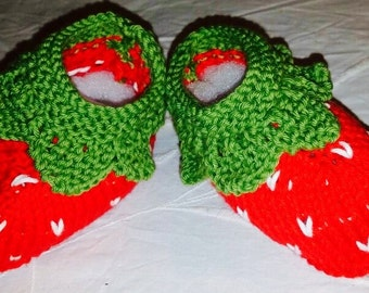 Strawberry baby booties