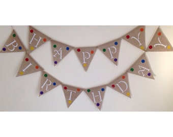 Happy Birthday Banner with Polka Dots-Rainbow Birthday Banner-Burlap Birthday Banner-Free Shipping!