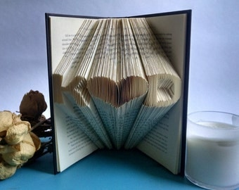 Anniversary Gift For the Book Lover - Folded Book Art Sculpture Featuring Custom Initials