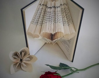 Folded Book Art Sculpture - Hearts - Anniversary Gift - Wedding Decor