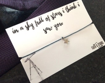 Coldplay lyrics gift for him for her friendship bracelet