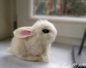 Unique Felted Bunny, White Wool Easter Rabbit, Home decor  doll,  Wet  Needle  Felted Toy , NATURAL White Sheep Wool