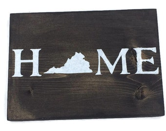 Virginia Home Wall Decor - Painted Wood Sign - Moving Away Gift - Housewarming Present - State Wall Art - VA Born and Raised